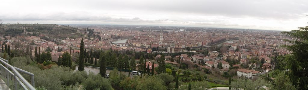 A panorama of Verona, from the Castel S. Pietro, above the Adige river.